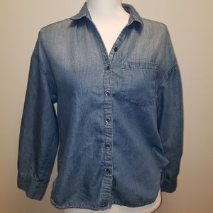 Jessica Simpson button down w gathered back
